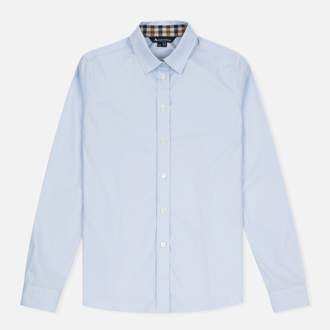 Женская рубашка Aquascutum Bowten Club Check Trim Baby Blue