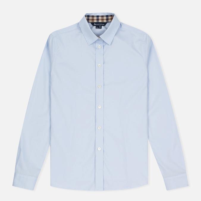 Aquascutum Bowten Club Check Trim Women's Shirt Baby Blue