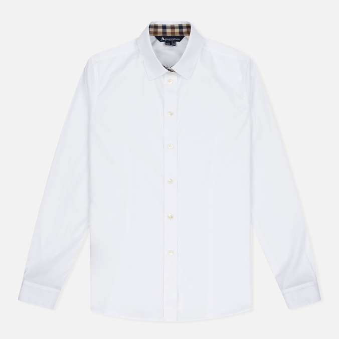 Aquascutum Bowten Club Check Trim Women's Shirt White