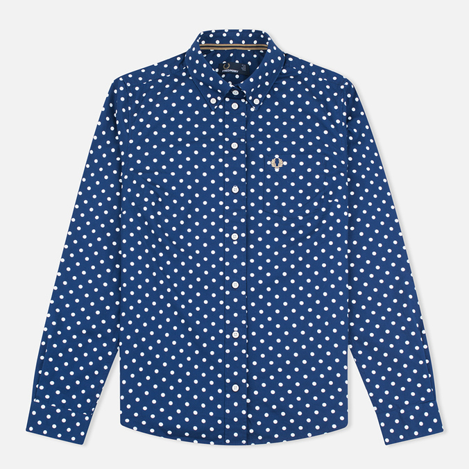 Женская рубашка Fred Perry Polka Dot LS Medieval Blue