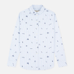 Женская рубашка Maison Kitsune Oxford Printed Baby Collar Light Blue Stripe фото- 0