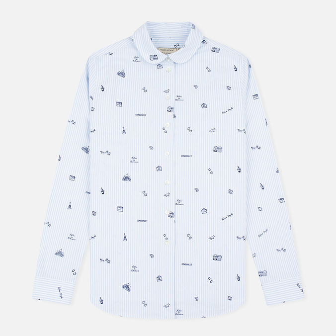 Женская рубашка Maison Kitsune Oxford Printed Baby Collar Light Blue Stripe