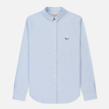 Женская рубашка Maison Kitsune Oxford Tricolor Fox Patch Classic Light Blue
