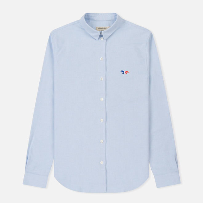 Женская рубашка Maison Kitsune Oxford Tricolor Fox Patch Classic Light Blue