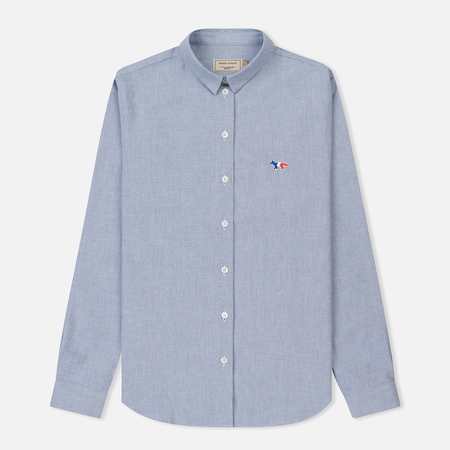 Женская рубашка Maison Kitsune Oxford Tricolor Fox Patch Classic Navy