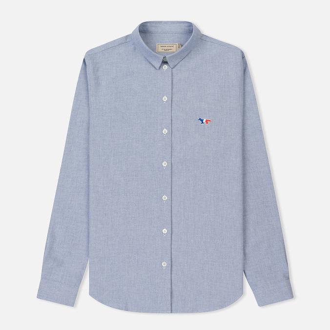 Женская рубашка Maison Kitsune Oxford Tricolor Fox Patch Classic Navy