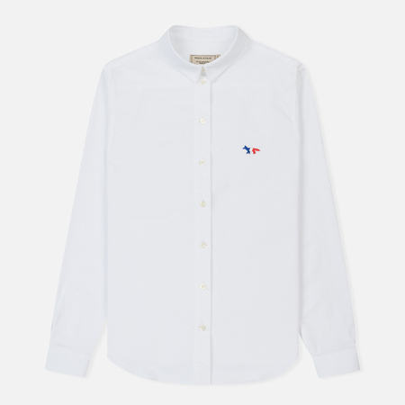 Женская рубашка Maison Kitsune Oxford Tricolor Fox Patch Classic White