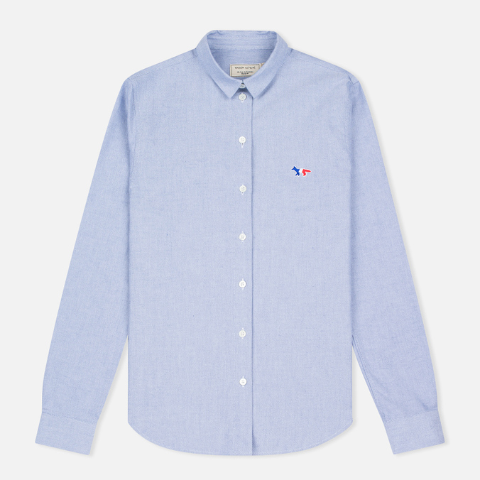 Женская рубашка Maison Kitsune Oxford Tricolor Patch Dark Navy
