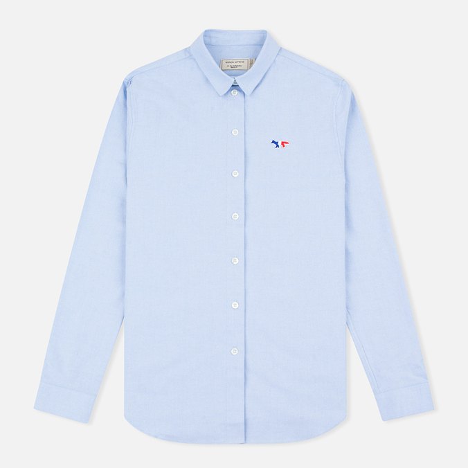 Женская рубашка Maison Kitsune Oxford Tricolor Patch Light Blue