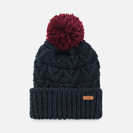 Женская шапка Barbour Cragside Bobble Navy/Red