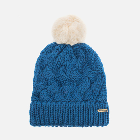 Женская шапка Barbour Fur Pom Pom Beanie Chalk Blue