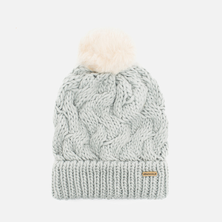 Barbour Fur Pom Pom Beanie Women's Hat Silver Ice