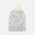 Женская шапка Barbour Fur Pom Pom Beanie Silver Ice фото- 3