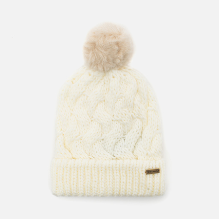 Женская шапка Barbour Fur Pom Pom Beanie Snow