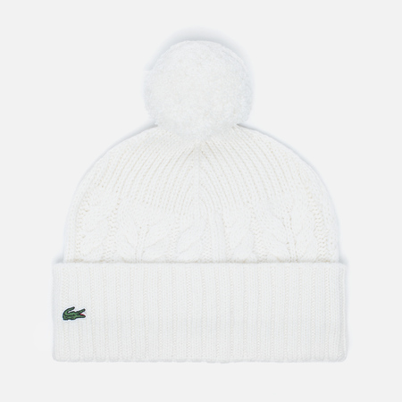 Lacoste Live Cable Knit Wool Pompom Beanie Women's Hat Cake Flour White