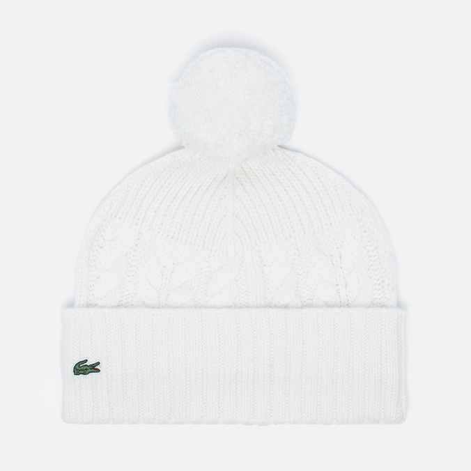 Женская шапка Lacoste Live Cable Knit Wool Pompom Beanie Cake Flour White