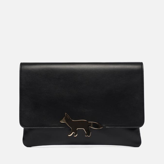 Женская сумка Maison Kitsune Clutch Leather Black