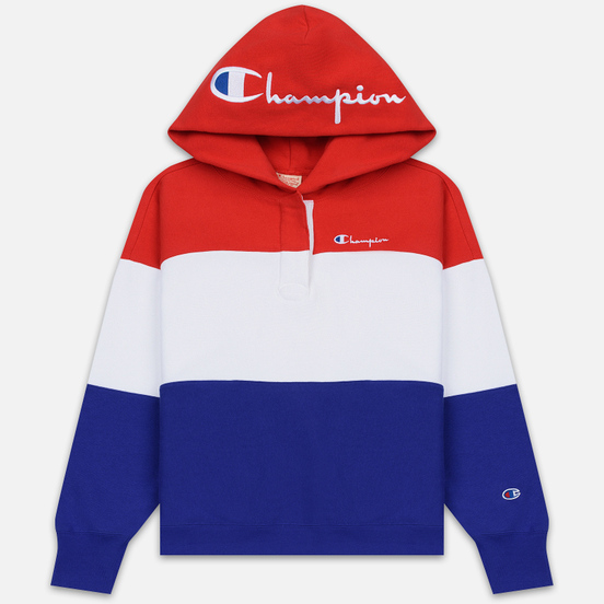 Женская толстовка Champion Reverse Weave Big Script Hooded Racing Red/White/Navy