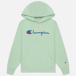 Женская толстовка Champion Reverse Weave Big Script & Logo Sleeve Hoodie Green