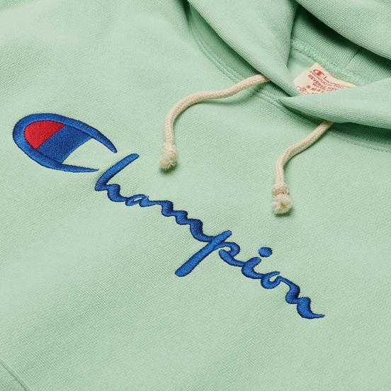 Женская толстовка Champion Reverse Weave Big Script & Logo Sleeve Hoodie Green