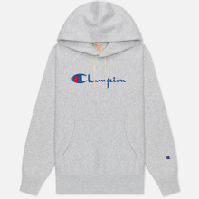 Женская толстовка Champion Reverse Weave Big Script & Logo Sleeve Hoodie Light Grey фото- 0