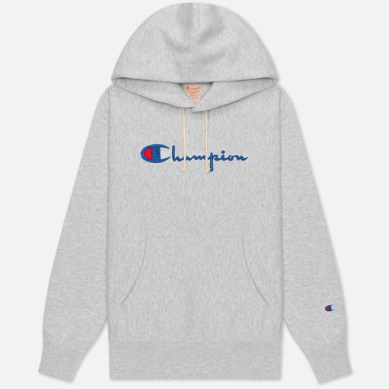 Женская толстовка Champion Reverse Weave Big Script & Logo Sleeve Hoodie Light Grey