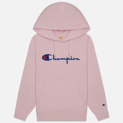 Женская толстовка Champion Reverse Weave Big Script & Logo Sleeve Hoodie Pink
