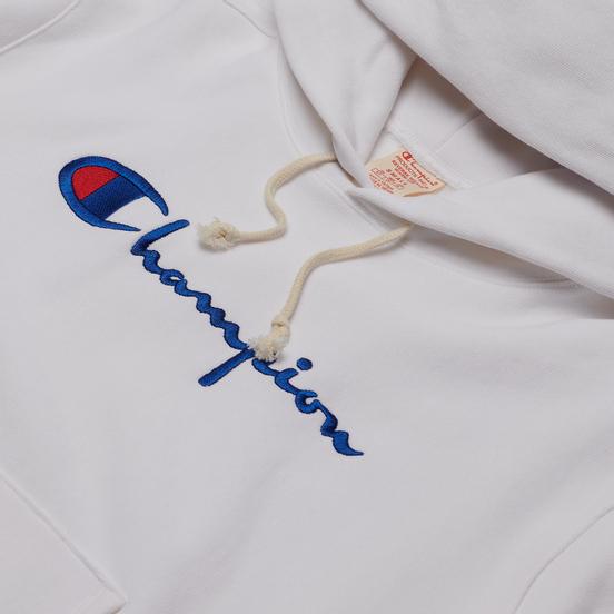 Женская толстовка Champion Reverse Weave Big Script & Logo Sleeve Hoodie White