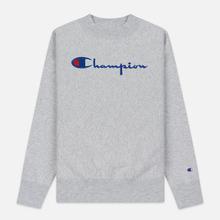 Женская толстовка Champion Reverse Weave Big Script Oversize Crew Neck Light Grey фото- 0