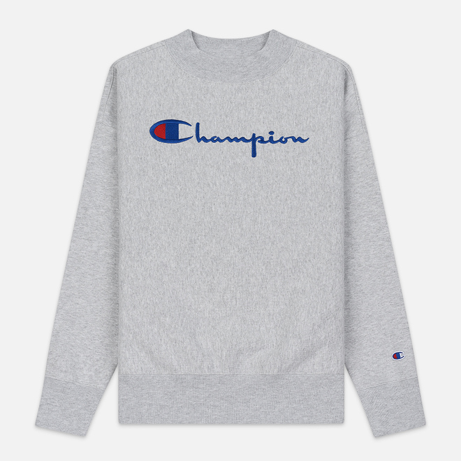 Женская толстовка Champion Reverse Weave Big Script Oversize Crew Neck Light Grey
