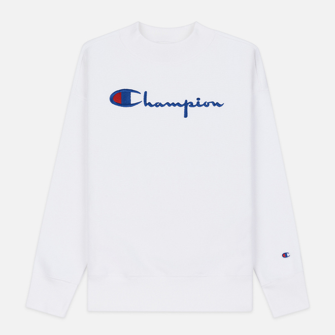 Женская толстовка Champion Reverse Weave Big Script Oversize Crew Neck White