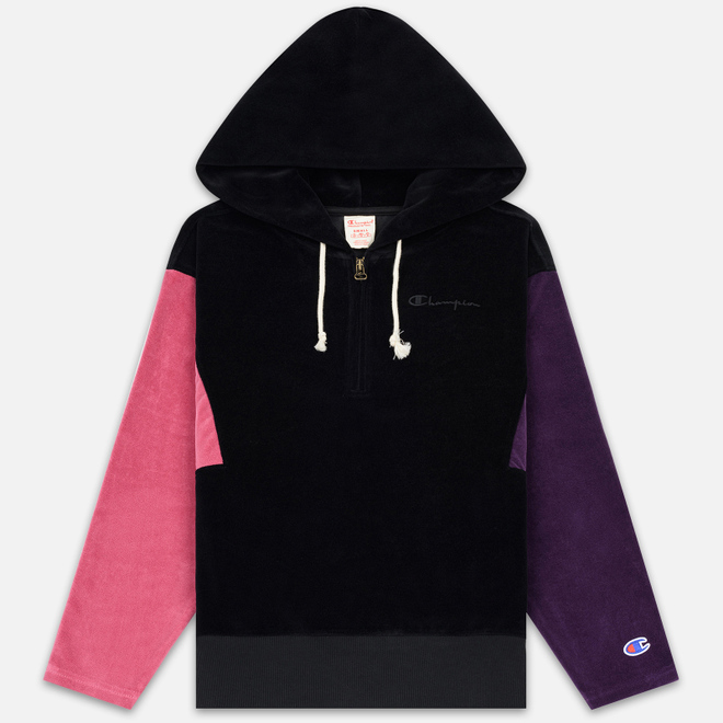 Женская толстовка Champion Reverse Weave Hooded Oversize Half-Zip Black/Multicolor