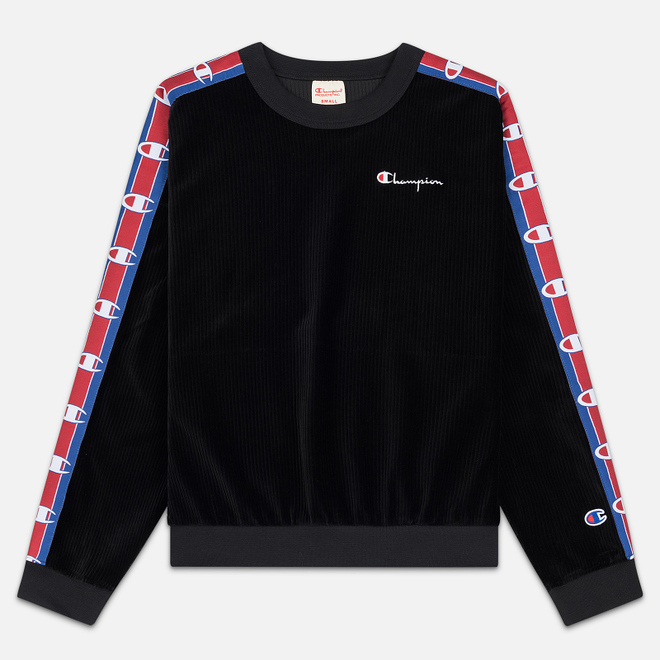 Женская толстовка Champion Reverse Weave Logo Tape Crew Neck Black