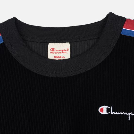 Женская толстовка Champion Reverse Weave Logo Tape Crew Neck Black