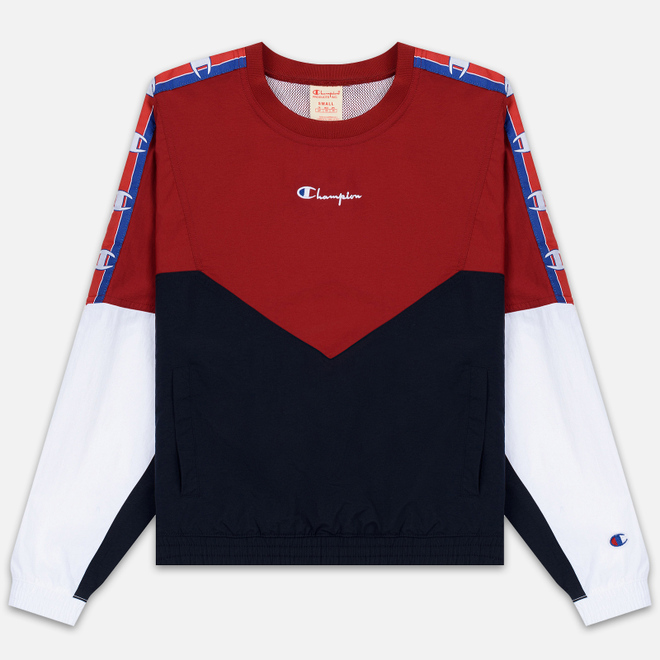 Женская толстовка Champion Reverse Weave Peached Feel Crinckle Water Repellent Crew Neck Dark Red/Navy/White