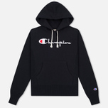 Женская толстовка Champion Reverse Weave Script Logo Hooded Black фото- 0