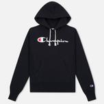 Champion Reverse Weave Script Logo Hooded Women's Hoody Black photo- 0