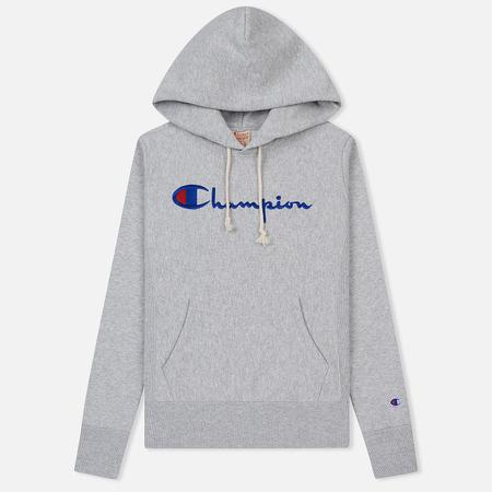 42094cbd Женская толстовка Champion Reverse Weave Script Logo Hoodie Light Grey