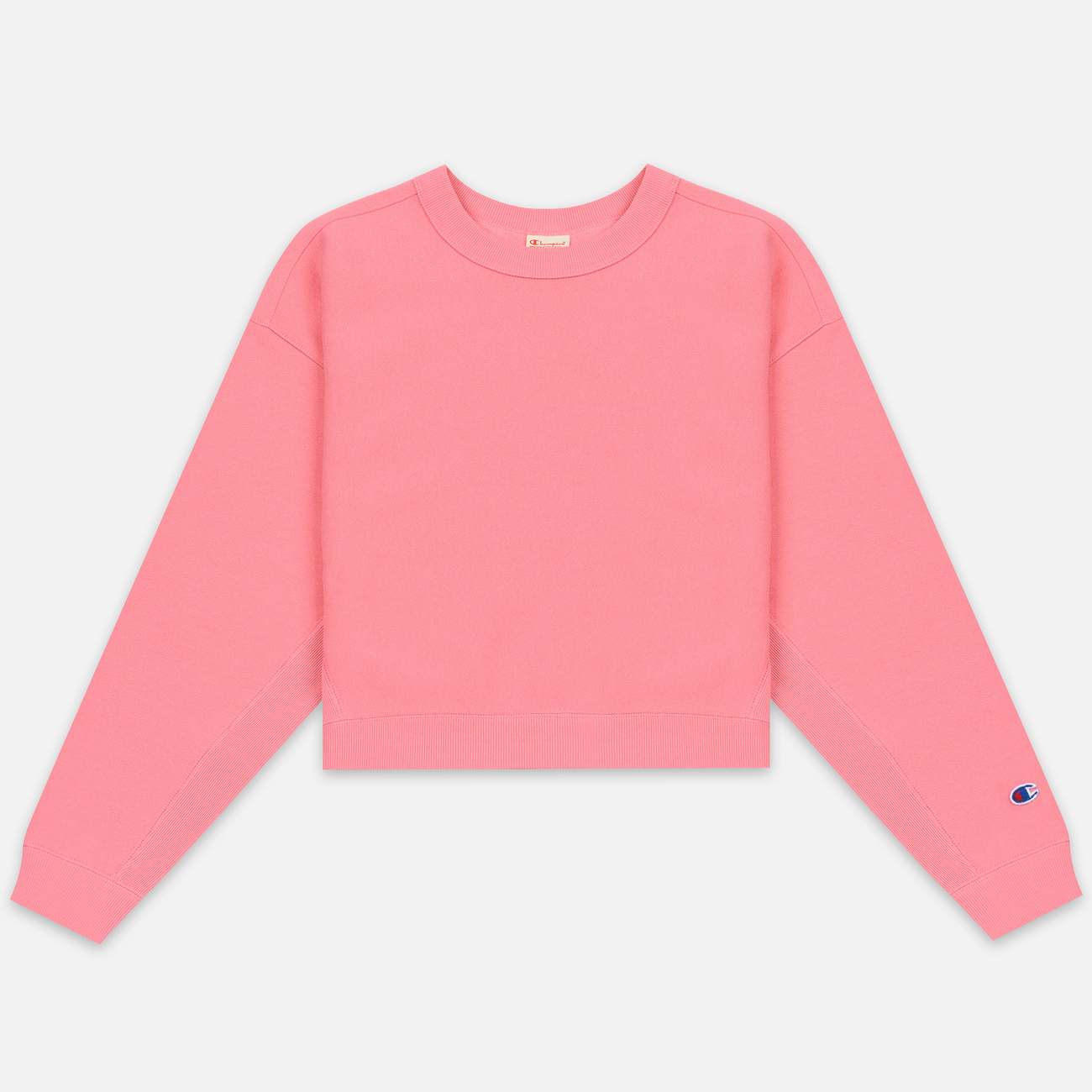 Женская толстовка Champion Reverse Weave Sleeve Logo Crew Neck Pink