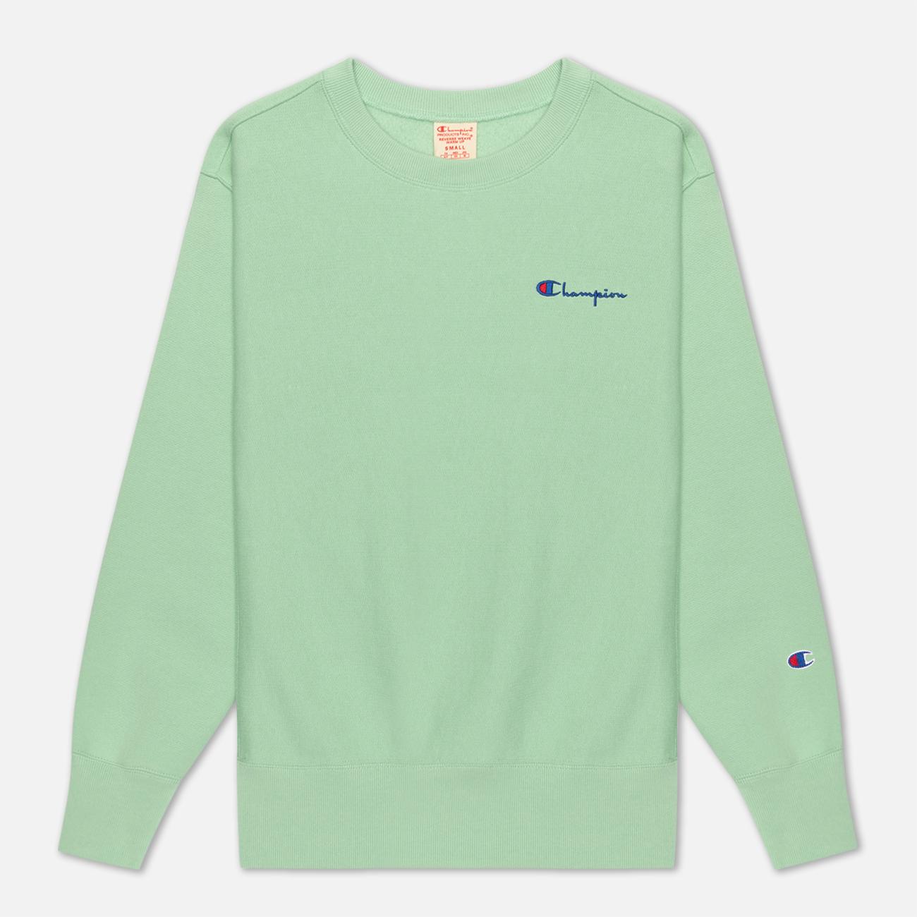 Женская толстовка Champion Reverse Weave Small Script & Logo Sleeve Crew Neck Green