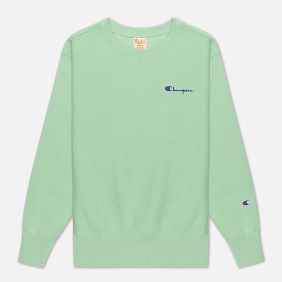Женская толстовка Champion Reverse Weave Small Script & Logo Sleeve Crew Neck Green