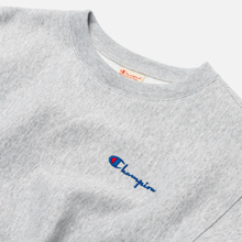 Женская толстовка Champion Reverse Weave Small Script & Logo Sleeve Crew Neck Light Grey фото- 1