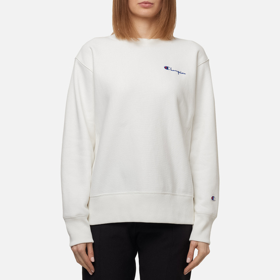 Женская толстовка Champion Reverse Weave Small Script & Logo Sleeve Crew Neck White