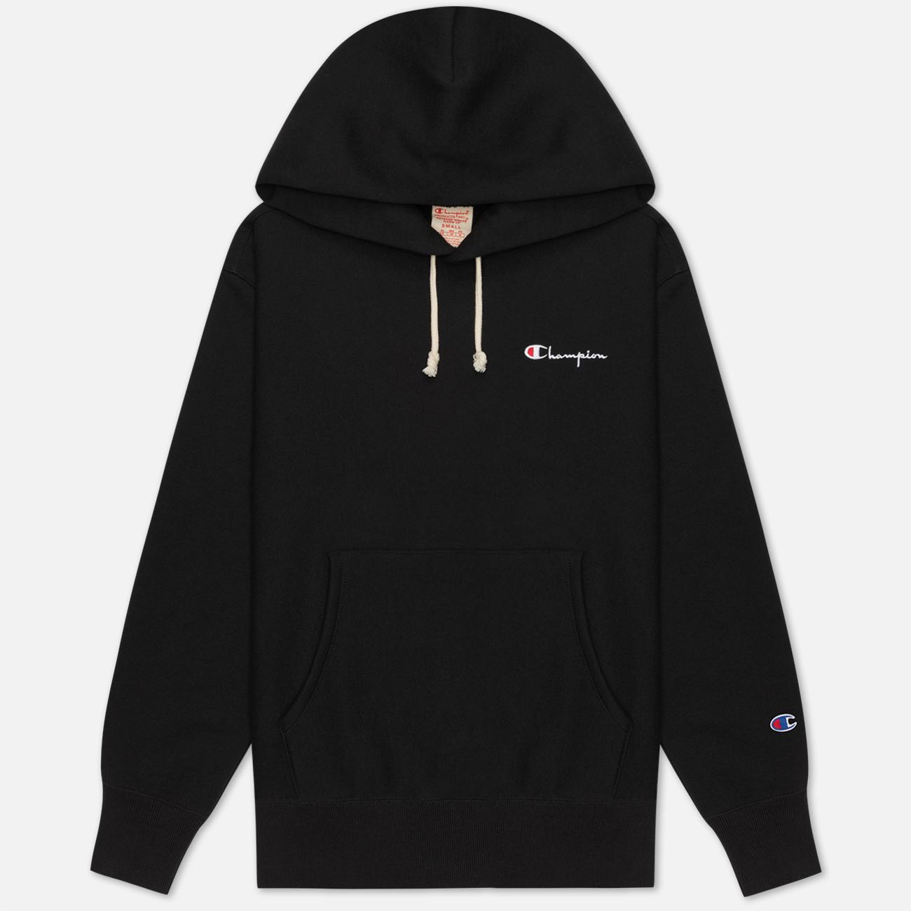 Женская толстовка Champion Reverse Weave Small Script & Logo Sleeve Hoodie Black