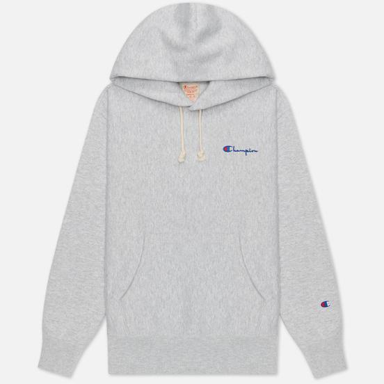 Женская толстовка Champion Reverse Weave Small Script & Logo Sleeve Hoodie Light Grey