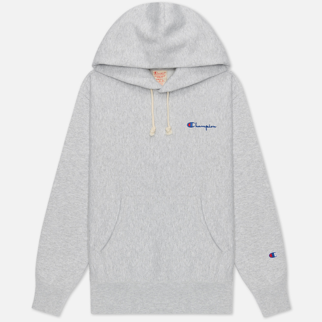 Женская толстовка Champion Reverse Weave Small Script & Logo Sleeve Hoodie Light Grey