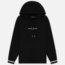 Женская толстовка Fred Perry Embroidered Hoodie Black фото- 0