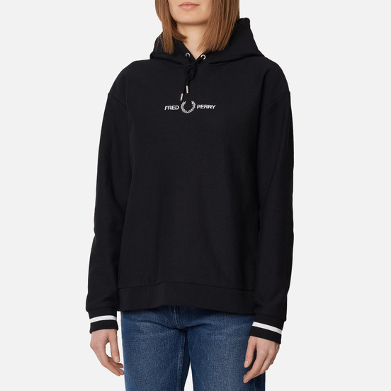 Женская толстовка Fred Perry Embroidered Hoodie Black