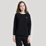 Женская толстовка Fred Perry Laurel Taped Crew Neck Black фото- 5