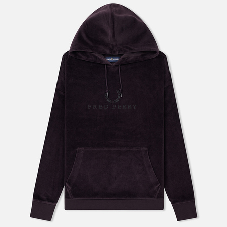 Женская толстовка Fred Perry Oversized Velour Hoodie Deep Purple